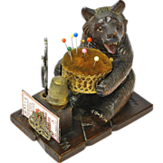SALE Black Forest Bear Sewing Caddy with Pin Cushion, Ca. 1880's