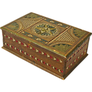 SALE Chip Carved and Painted Mahogany Desk Box, Ca. 1880