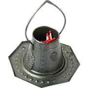 SALE Goberg Hammered Iron Tabletop Pail Match Holder with Hearts, Ca. 1910