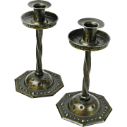 SALE Signed Goberg Pair of Twist Stem Iron Candlesticks, Ca. 1900-20