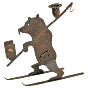 Goberg Hand-hammered Skiing Bear Candlestick/ Matchbox Holder, Ca. 1910