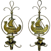 SALE A Rare Pair of Goberg Hammered Iron Brass Viking Wall Sconce Candlesticks, Ca. 1910