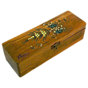 Souvenir Painted Olive Wood Jewelry Box, Nice, France, 1900's