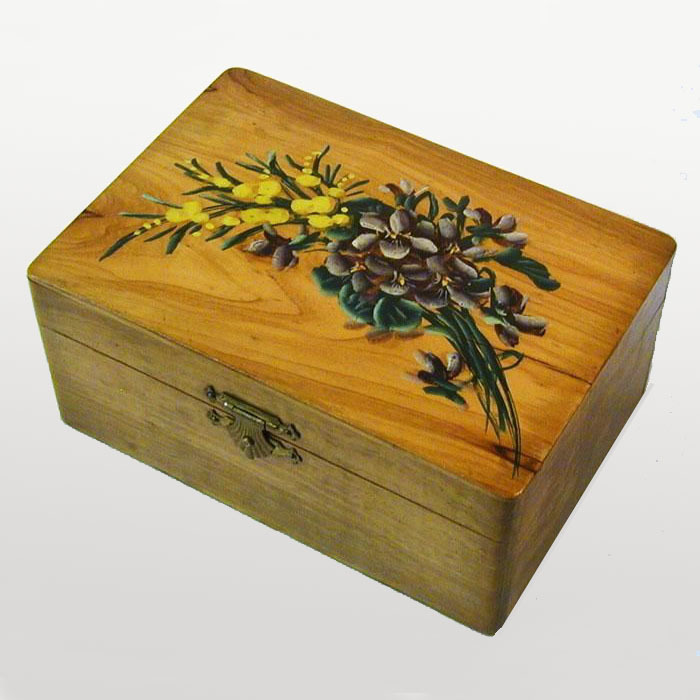 Floral Painted Olive Wood Jewelry Box, Souvenir of France, 1900's