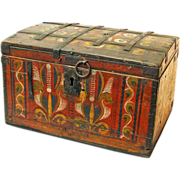 SALE Painted Russian Wedding Chest, Ca. 1860-1890