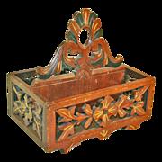 Carved & Gilded Walnut Stereopticon Slide Storage Box / Desk Tray, Victorian Era