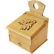 Hand Made Curly Ash Salt Box, Wall Box, w/Drawer, Carved Leaf Design