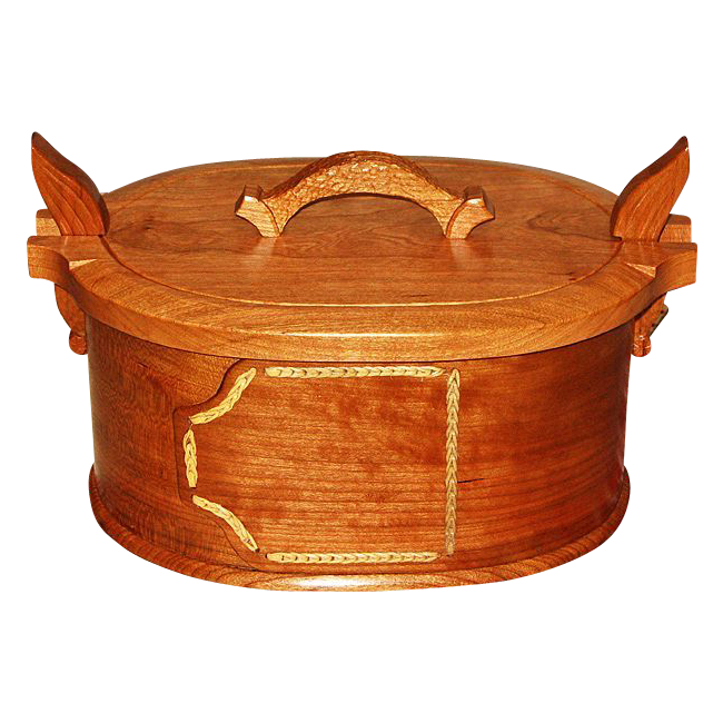 Hand Carved Norwegian Style Oval Cherry Tine