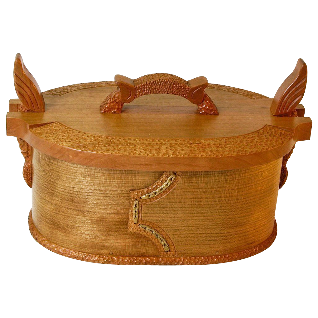 Norwegian Style Carved Oval Cherry Tine, Bride's Box, from Sweetpea Cottage Workshop