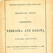 Preliminary Report of Explorations in Nebraska and Dakota in the Years 1855,'56,'57, by  Lieut. G.K.Warren,,Fold Out Map, 1875