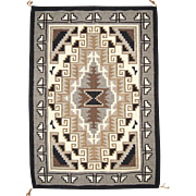 SOLD Classic Two Grey Hills Navajo Weaving Rug
