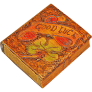 Pyrographic and Paint  Decorated Playing Card Box w/ 6th Armored Division Cards
