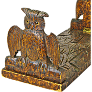 SALE Pyrography Decorated Owl Folding Book Rack