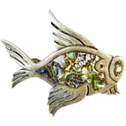 Sterling Signed  Silver & Abalone Fish Pin, Tasco, Mexico