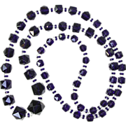 Extra Long Bead Necklace in Dark Purple from 1950's or 60's