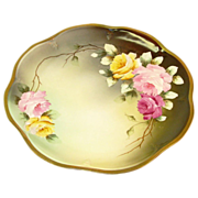 """Hand Painted Royal Vienna Plate of Roses, Signed """"L. Renault"""""""