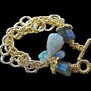 Labradorite bracelet, mixed links charm bracelet, Drusy bracelet, Camp Sundance, Kyanite Apatite, Gem Bliss