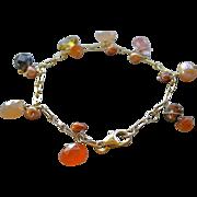Moonstone charm bracelet, Peach Moonstone, gemstone charms bracelet, Camp Sundance