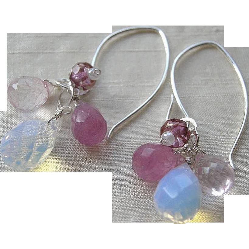 Silver chandeliers, Opalite earrings, rose pink Opalite drops Camp Sundance Gem Bliss
