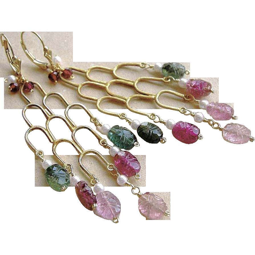 Tourmaline chandelier earrings, pink green Tourmaline, Gold filled earrings, Camp Sundance, Gem Bliss