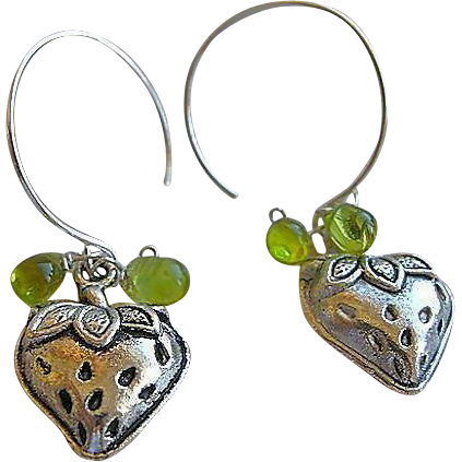 Mini charm hoops, berry charm, Silver hoop earrings, Camp Sundance, Gem Bliss