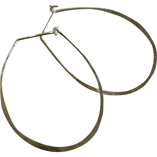 Silver Hoop earrings, forged and Hammered, oval hoops, self closing, Camp Sundance, Gem Bliss