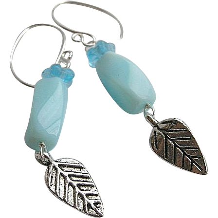 Peruvian Opal earrings, Designer Silver hooks, leaf charm, Camp Sundance, Gem Bliss