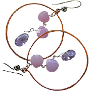 Copper hoops wisteria Silver hook earrings Chalcedony Amethyst Camp Sundance
