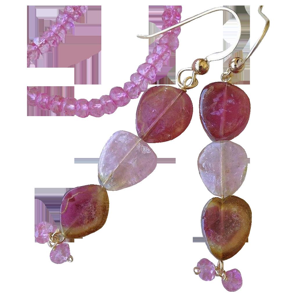 Pink Tourmaline earrings, Watermelon Tourmaline Slice, Gold earrings, Topaz, 14K, Camp Sundance, Gem Bliss