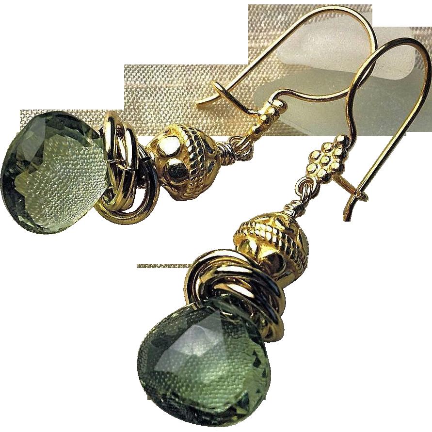 Green Topaz earrings, 18K Vermeil, elegance from Camp Sundance, Gem Bliss