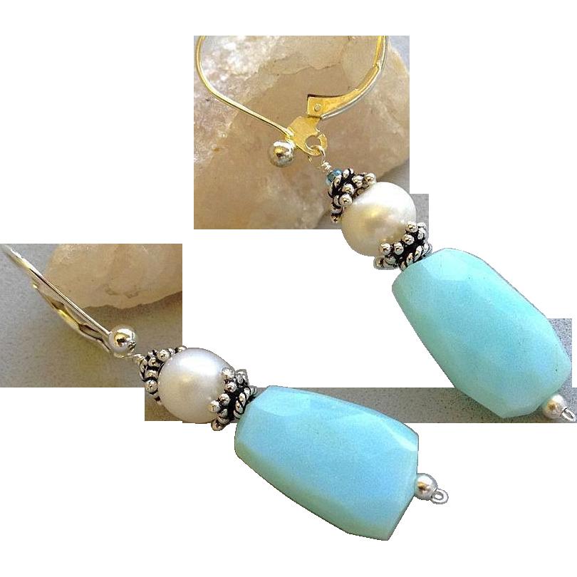 Peruvian Opal earrings, Bali Silver earrings, Pearl drop earrings, Camp Sundance, Gem Bliss
