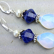 Blue Sodalite Opalite drop earrings Camp Sundance Euro lever back