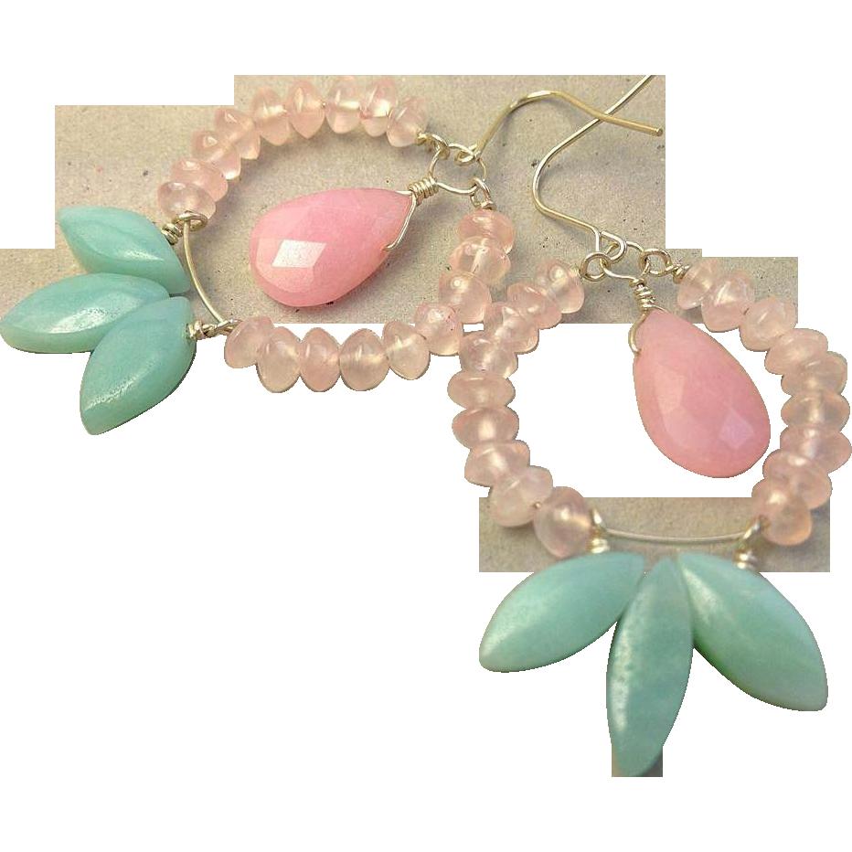 Amazonite Hoops, Rose Quartz Earrings, Amazonite, Silver Hoop earrings, Camp Sundance, Gem Bliss