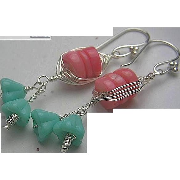 Coral Silver weave wrap aqua trumpet flowers bouquet dangle drop earrings