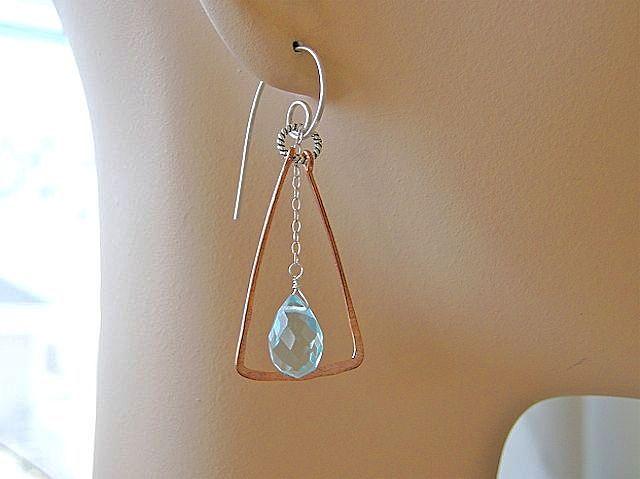Copper Hoops trapeze Sterling Silver aqua blue quartz earrings