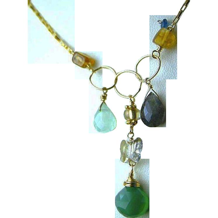 Labradorite charms necklace, Onyx ,Citrine, Chalcedony, Gold filled necklace, Camp Sundance, Gem Bliss