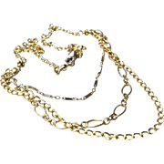 Triple Strand mixed links necklace Gold filled Camp Sundance