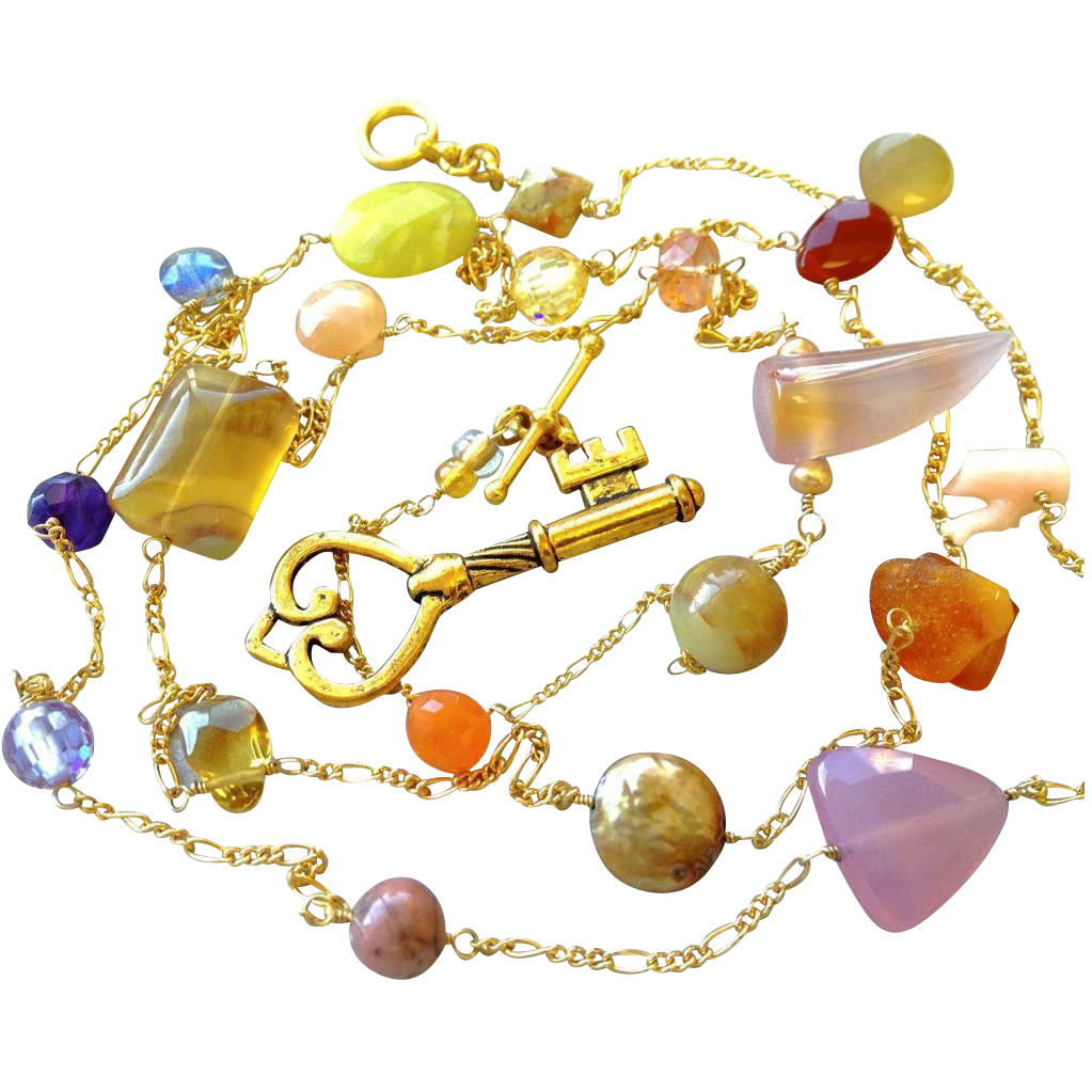 Long necklace, key charm, gemstone necklace, Gold filled, Camp Sundance jewelry, Gem Bliss