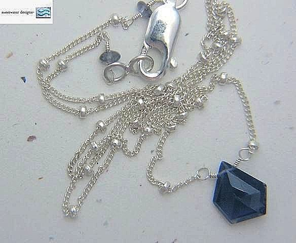 Rare unusual 5 sided Iolite briolette Sterling Silver Camp Sundance necklace