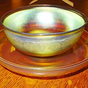 Intaglio Tiffany Favrile finger bowl & underplate