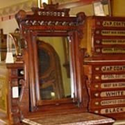 Superior walnut Eastlake marbletop shaving stand--unusual mirror