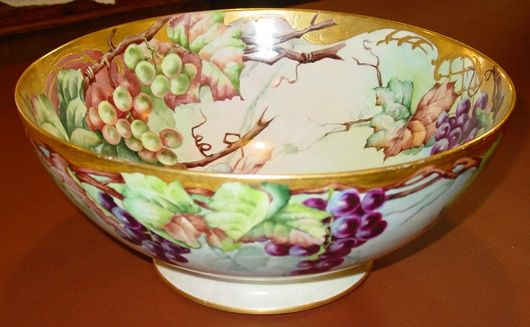 Large handpainted footed Limoges bowl---grapes and vines
