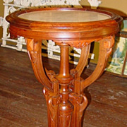 Renaissance walnut marble top table stand