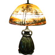 Scenic reverse painted lamp-Moe Bridges
