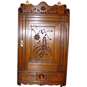 Super spoon carved oak wall cabinet cupboard with drawer