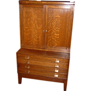 Quartered oak stackable file w doors and 4 map drawers