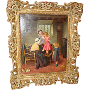 Antique Oil on canvas-William Hemsley-Fitting her Dress