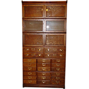 Quartered oak double wide barrister bookcase with drawers