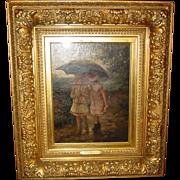 Pair antique oil on canvas---Albert Rosenboom