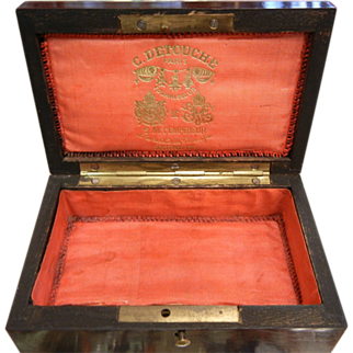 Antique French Red Silk Lined Wooden Box